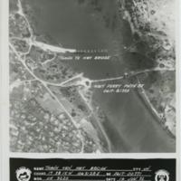 [Aerial view of bombed bridge in Vietnam]