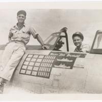 [William D. Dunham in cockpit of Republic P-47D (F-47D) Thunderbolt]