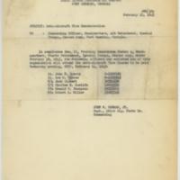 [Memorandum noting attendees of Anti-Aircraft Fire Course, February 23, 1943]