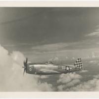 """[Robert L. Baseler piloting """"Big Stud,"""" his Republic P-47D (F-47D) Thunderbolt]"""