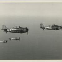 [Grumman F4F Wildcats in flight]