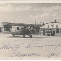 [Douglas O-38D aircraft at airport, Cheyenne, Wyoming]