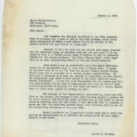 [Letter from Harold E. Hartney to Major Meriam Cooper, January 4, 1935]