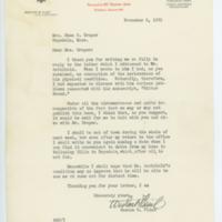 [Letter from Weston B. Flint to Mrs. Draper, November 5, 1931]