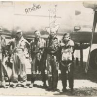 "[Flight crew with ""Athena,"" a North American B-25G Mitchell aircraft]"
