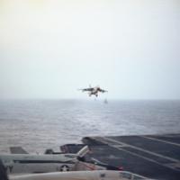 [Vought A-7 Corsair II landing on USS Kitty Hawk]