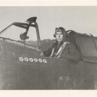 """[Robert L. Baseler in cockpit of """"Big Stud,"""" his Republic P-47D (F-47D) Thunderbolt]"""