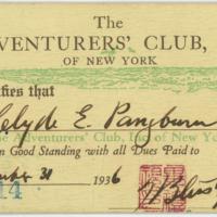 [Adventurers' Club Inc. of New York membership card]