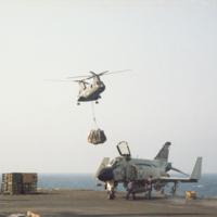 [Boeing-Vertol CH-46A (HRB-1) Sea Knight approaching USS Kitty Hawk]