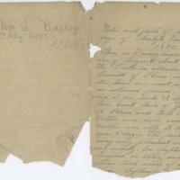 [Handwritten notes regarding C. E. Roy's birth, circa 1890]